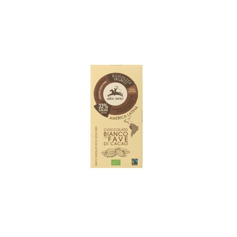 Czekolada biała z kawałkami kakao Fair Trade BIO 100g